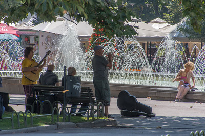 A band playing in the City Garden park
