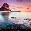 Europe - Spain - España - Alicante Province - Calp - Calpe - Coastal town with iconic Calpe's Peñón de Ifach Rock at shores of  Mediterranean Sea at the foot of the Natural Park of Penyal d'Ifac