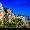 Europe - Spain - España - Alicante Province - Guadalest - El Castell de Guadalest - Monument of Historical and Artistic Value - Historic hill fort with remains of medieval castle and village precariously perched on top of a mountain overlooking a reservoir