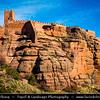Europe - Spain - España - Aragon - Teruel Province - Peracense Castle - Castillo de Peracense - Impressive Spanish medieval castle bult on red color rock of San Ginés