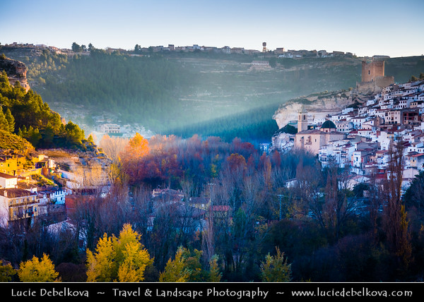 Europe - Spain - España - Albacete Province - Alcalá del Júcar - Historical town with Castle of Alcalá del Júcar of Almohad origin (12th and 13th centuries)  located in exceptional setting on hill below gorge formed by Júcar river