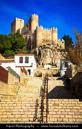 Europe - Spain - España - Castile-La Mancha - Albacete Province - Almansa - Historical town with Castillo de Almansa - Impressive Almansa castle built on top of rock crowning city of Arab origin