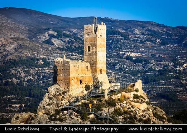 Europe - Spain - España - Cocentaina - Penella castle - Castillo de Penella - Castle built in 12-th Century on a hill overlooking entire region