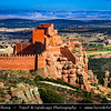 Europe - Spain - España - Aragon - Teruel Province - Peracense Castle - Castillo de Peracense - Impressive Spanish medieval castle bult on red color rock of San Ginés