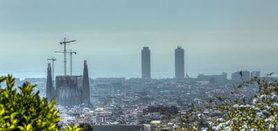 Barcelona Overview with La Sagrada Familia, Catalunya, Spain, 2012