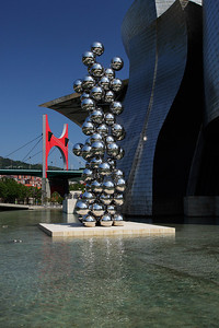 Bilbao, Spain The Tall Tree & the Eye sculpture outside The Guggenheim Museum in Bilbao