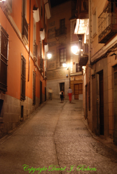 Night time view of small street, Toledo, Spain