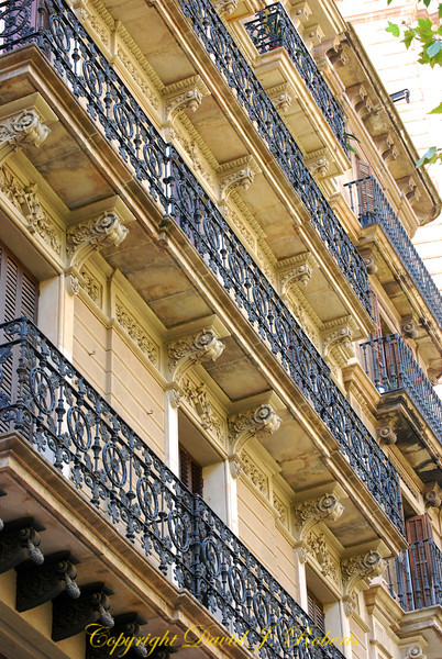 Building architecture with iron rails, Barcelona, Spain