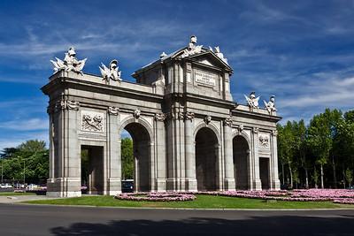 Madrid, Spain The Puerta de Alcalá monument on Plaza de la Independencia in Madrid.