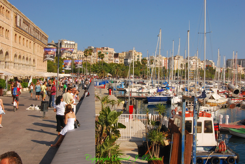 Harbor walkway, Barcelona, Spain