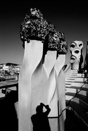 Sculptured Chimneys atop Gaudi Casa Mila #9s - Barcelona, Spain
