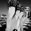 Sculptured Chimneys atop Gaudi Casa Mila #9s - Barcelona, Spain