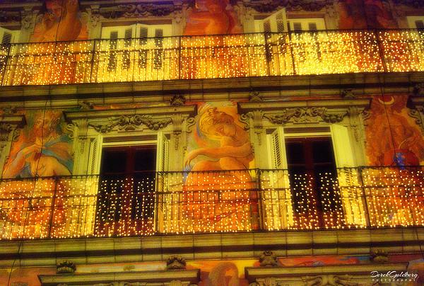 Plaza Mayor Lit for Night - Madrid, Spain