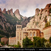 Europe - Spain - España - Catalonia - Santa Maria de Montserrat - Benedictine abbey - Fully-functioning monastery located atop 1200m high (3936-ft.) mountain of Montserrat - Wild & rugged mountain range