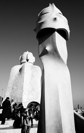 War-like Sculptured Chimney Statues #6a, Gaudi Casa Mila - Barcelona, Spain