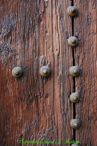 Old wooden door with bolts, Toledo, Spain