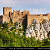 Europe - Spain - España - Aragon - Huesca Province - Castillo de Loarre - Loarre Castle -  Impressive Romanesque Fortress complex built on rocky outcrop largely during the 11th and 12th centuries on frontier between Christian and Muslim lands