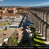 Europe - Spain - España - Castile and León - Segovia - UNESCO World Heritage Site - Aqueduct of Segovia on Plaza del Azoguejo - One of most important Roman civil engineering work in Spain dating from late 1st or early 2nd century - Consists of about 25,000 granite blocks held together without any mortar, spaning 818 meters with more than 170 arches, highest being 29 meters high