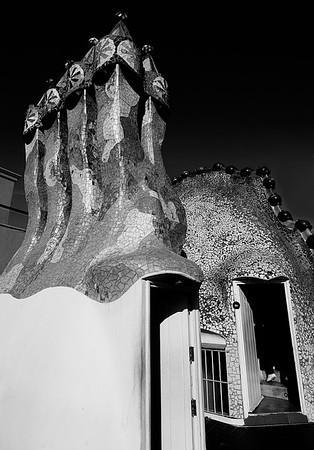 Sculptured Chimney atop Gaudi Casa Mila #27a - Barcelona, Spain