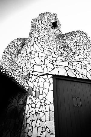 Sculptured Chimneys atop Gaudi Casa Mila #10a - Barcelona, Spain