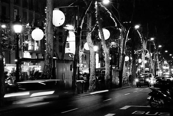 Las Ramblas Street Scene Nocturne #5a - Barcelona, Spain