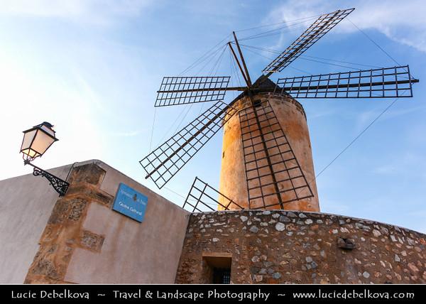 Europe - Spain - Balearic Islands archipelago - Majorca - Mallorca - Palma - Palma de Mallorca - Major city and port on the island of Majorca at the Bay of Palma - Historical Windmills