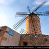 Europe - Spain - Balearic Islands archipelago - Majorca - Mallorca - Palma - Palma de Mallorca - Major city and port on the island of Majorca at the Bay of Palma - Historical Windmills