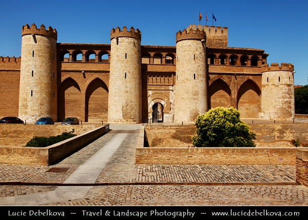 Europe - Spain - España - Aragon - Zaragoza - Saragossa - Aljafería Palace - Palacio de la Aljafería - Fortified medieval Islamic palace built during the second half of the 11th century & Spain's finest Islamic-era edifice outside Andalucía