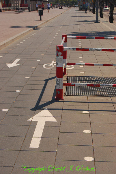 Bike path with an obstacle, Barcelona, Spain