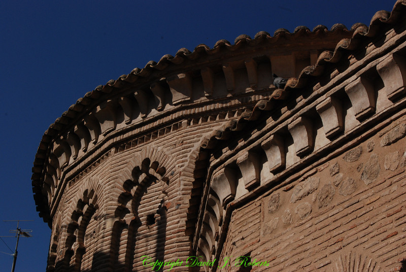 Ornate brick work in old church, Toledo, Spain