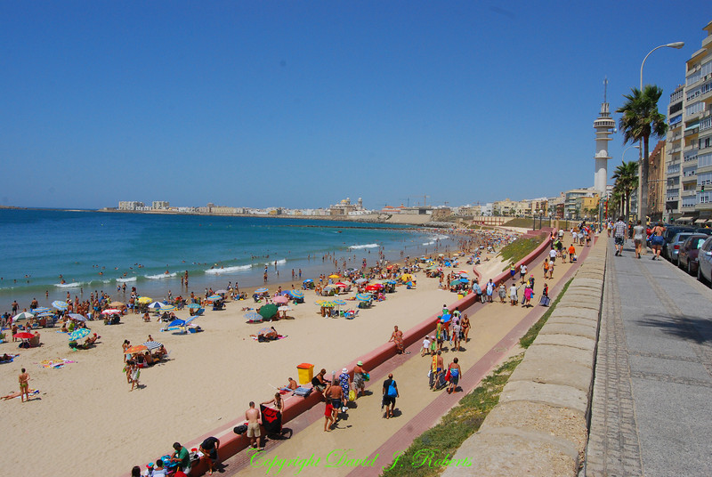 Beach and walkway in Cadiz, Spain