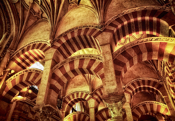 Moorish Arches and Ceiling_Inside the Reales Alcazares #1s - Cordoba, Spain