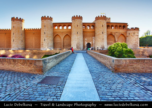 Europe - Spain - España - Aragon - Zaragoza - Saragossa - Aljafería Palace - Palacio de la Aljafería - Fortified medieval Islamic palace built during the second half of the 11th century & Spain's finest Islamic-era edifice outside Andalucía