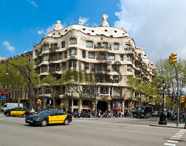 Casa Mila La Pedrera (built by Gaudí between 1906 and 1910)<br /> Barcelona, Spain