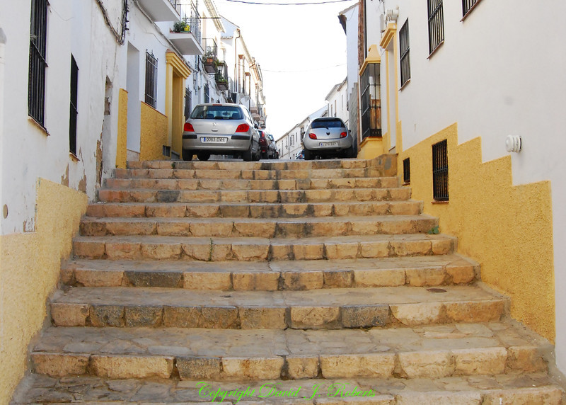 Street becomes stairs, Ronda, Spain