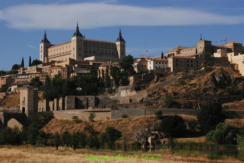 View from the river entering Toledo, Spain