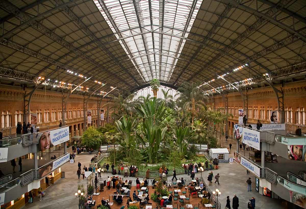 Atocha Railroad Station, railroad, Madrid, train.