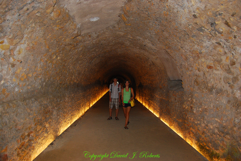Tunnels that are part of Roman Ruins in Tarragona, Spain