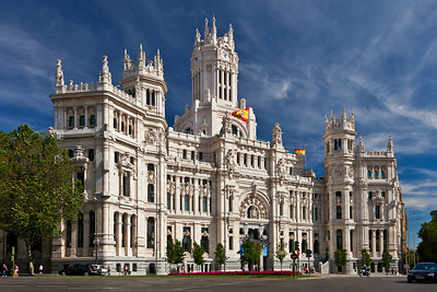 Madrid, Spain Cibeles Palace (City Hall, formerly named Communications Palace) on  Plaza de Cibeles in Madrid.