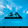 Europe - Sweden - Kingdom of Sweden - Sverige - North of the Arctic Circle - Lapland - Kiruna - Jukkasjarvi Icehotel - Hotel constructed from snow and ice blocks taken from the nearby Torne River