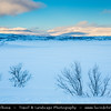 Europe - Sweden - Kingdom of Sweden - Sverige - North of the Arctic Circle - Swedish Lapland - Lappland - Lapponia - Abisko National Park - UNESCO World Heritage Site - Laponian mountainous area under fresh cover of snow during winter time - Frozen Torneträsk Lake