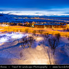 Europe - Sweden - Kingdom of Sweden - Sverige - North of the Arctic Circle - Lapland - Kiruna - Mining town under fresh cover of snow during winter time at Dusk - Twilight - Blue Hour - Night