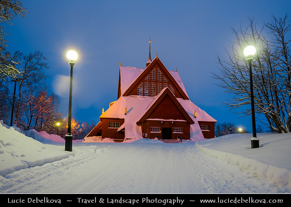 Europe - Scandinavia - Kingdom of Sweden - Sverige - North of the Arctic Circle - Kiruna - Kiruna Red Church - Kiruna kyrka under fresh cover snow - Voted the most beautiful public building in Sweden by the Swedish people
