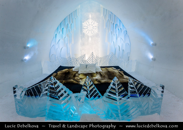 Europe - Sweden - Kingdom of Sweden - Sverige - North of the Arctic Circle - Kiruna - Jukkasjarvi Icehotel - Hotel constructed from snow and ice blocks taken from the nearby Torne River