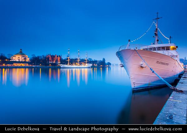 Europe - Scandinavia - Kingdom of Sweden - Sverige - Stockholm - Old Town - Illuminated ship at Night