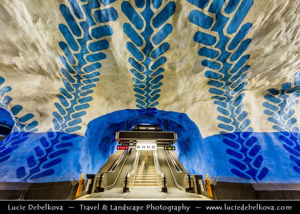Europe - Scandinavia - Kingdom of Sweden - Sverige - Stockholm - Famous underground/subway/metro station with impressive architectural features