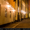 Europe - Scandinavia - Kingdom of Sweden - Sverige - Stockholm - Old Town - Stortorget place in Gamla stan - Night - Twilight - Dawn