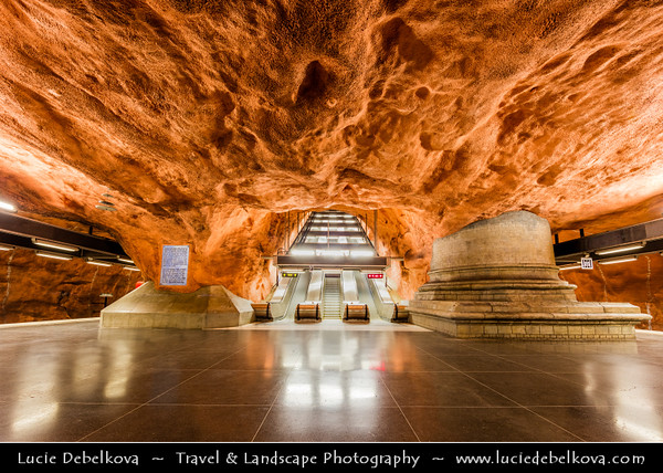 Europe - Scandinavia - Kingdom of Sweden - Sverige - Stockholm - Famous underground/subway/metro station with impressive architectural features