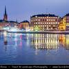 Europe - Scandinavia - Kingdom of Sweden - Sverige - Stockholm - Old Town - Histocial city center on shore of Northern Baltic Sea at Dusk - Twilight - Blue Hour - Night