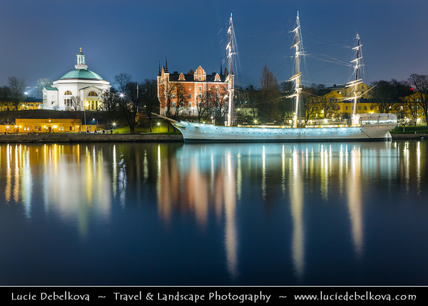 Europe - Scandinavia - Kingdom of Sweden - Sverige - Stockholm - Old Town - Admiralty House & Illuminated Chapman ship at Night